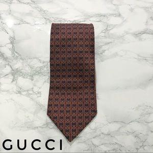 Gucci GG Monogram Print Brown Silk Tie EUC